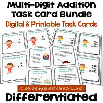 Addition Task Card BUNDLE (3 Levels)