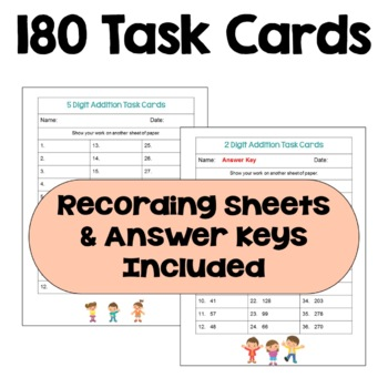 Multi Digit Addition Task Card BUNDLE (Differentiated)