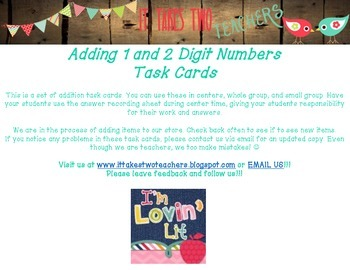 Addition Task Cards 1 and 2 digit