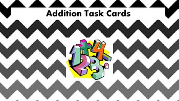 Addition Task Cards 1 through 20 (32 Cards)