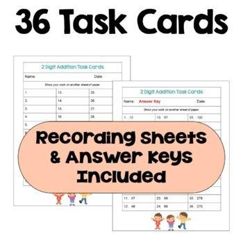 Addition Task Cards: 2 Digit Addition (3 Levels)
