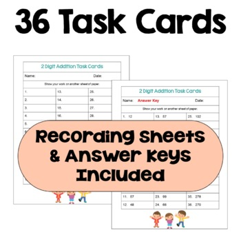 2 Digit Addition Task Cards (Differentiated)