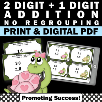 2 Digit Addition Without Regrouping Task Cards, 1st Grade Math Review Game