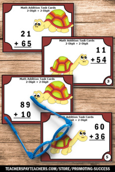 Double Digit Addition Without Regrouping Games, 2nd Grade Math Review Task Cards