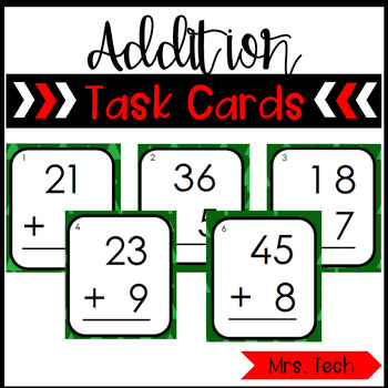 Addition Task Cards {2 digit & regrouping} Christmas Themed