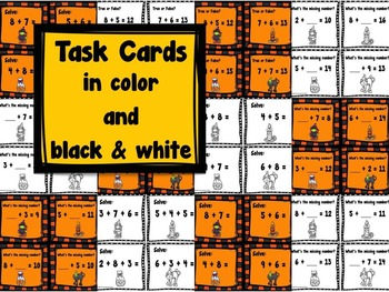 Addition Task Cards Halloween
