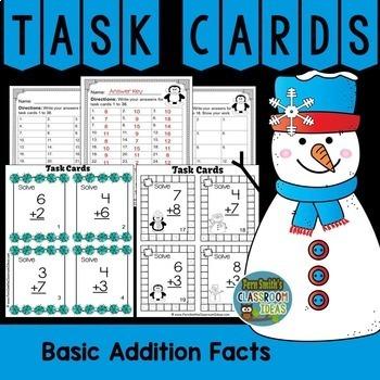 Winter Math Addition Task Cards