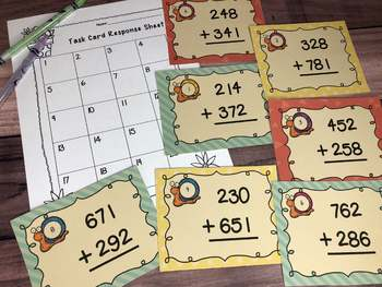 Addition Task Cards: 3 Digit Addition