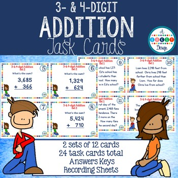 Addition Task Cards - 3- and 4-digit