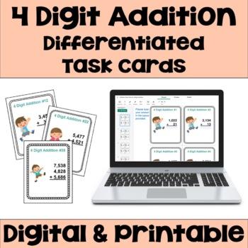 Addition Task Cards: 4 Digit Addition (Differentiated with 3 Levels)