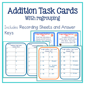 Addition Task Cards: Addition with Regrouping