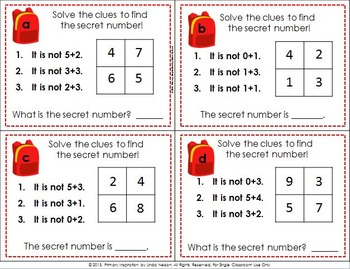 Addition Math Logic Task Cards