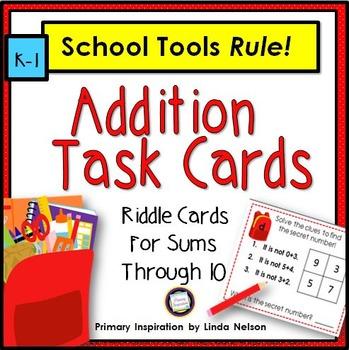 Addition Brain Teasers ~ School Tools Task Cards