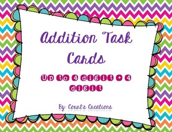 Addition Task Cards Combination up to 4 Digit + 4 Digit