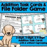 Addition Task Cards & File Folder Game {2, 3, and 4-digit Addition}