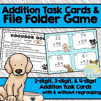 Addition Task Cards & File Folder Game {2, 3, and 4-digit