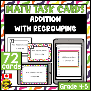 Addition Task Cards Grades 4-5