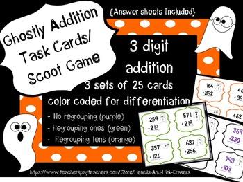 Addition Task Cards Bundle {Halloween Math Centers}