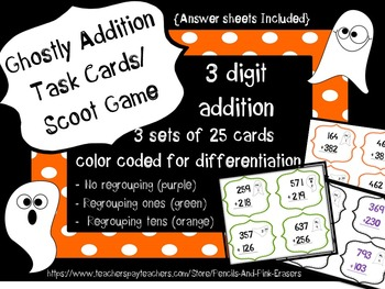 Addition Task Cards Bundle {Halloween Math Centers}