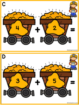 Addition Task Cards - Mining For Gold Sums Up To 10