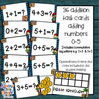 Addition  Task Cards - adding numbers 0-5 - Pirate Themed