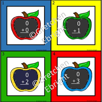 Addition Task Cards - Sums to Ten - Apple Chalkboard Theme