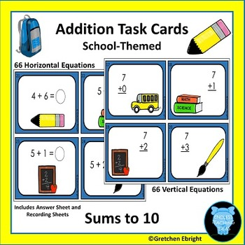 Addition Task Cards - Sums to Ten - School Themed