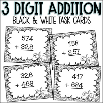 Addition Task Cards - Triple Digit WITH Regrouping