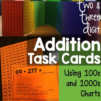 Addition Task Cards Using 100s Charts