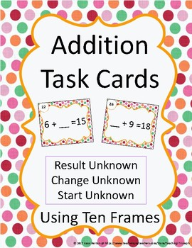 Addition Task Cards Using Unknowns