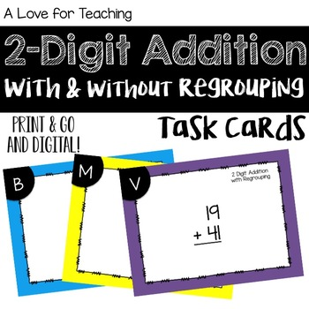 2 Digit Addition With and Without Regrouping Task Cards {Digital}