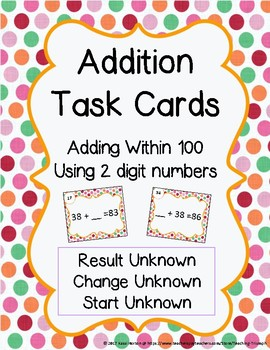 Addition Task Cards Within 100