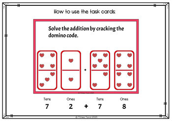 Addition Task Cards Within 200 --  Valentine's Day Edition