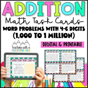 Addition Task Cards { Word Problems 1,000 - 1,000,000 }