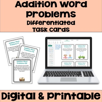 Addition Word Problems Task Cards (Differentiated)