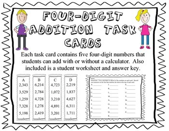 Addition Task Cards--add five four-digit numbers