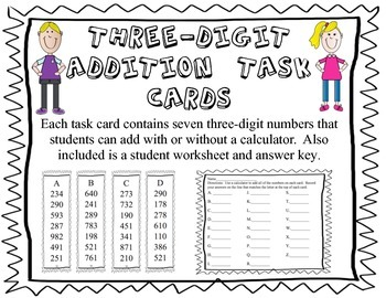 Addition Task Cards--add seven three-digit numbers