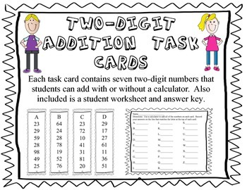 Addition Task Cards--add seven two-digit numbers