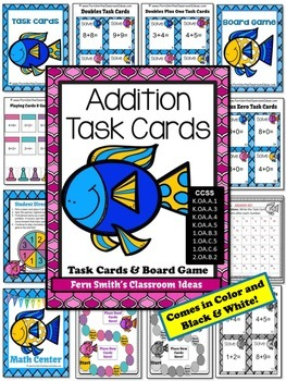 Addition Ocean Task Cards, Recording Sheet and Board Game