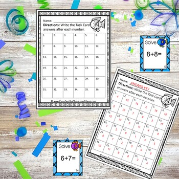 Addition Task Cards and Recording Sheet Ocean Themed