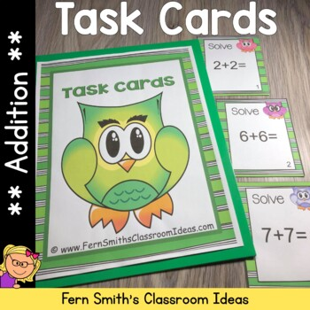 Addition Task Cards and Recording Sheet Owl Themed