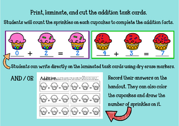 Addition Task Cards for Math Centers