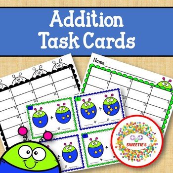Addition Task Cards - sums 1-10 - Bugs
