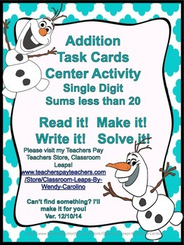 Addition Task Cards for Math Centers Small Groups  (Frozen Theme) *Please Rate!