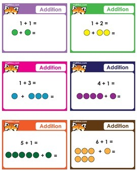 Addition Task Cards with Numbers and Pictures
