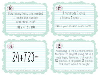 Multi-Digit Common Core Addition Task Cards with Regrouping