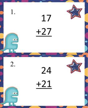 Addition Task Cards~Monster Theme