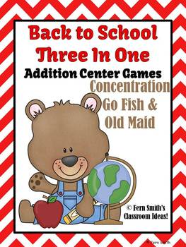 Addition Math Center Teddy Bear Back To School Three Center Games in One