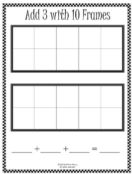 Addition Template: Adding 3 Addends Using 10 Frames