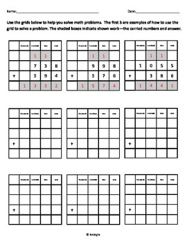 Addition Template - Grid to Align Numbers FREEBIE